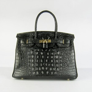 Hermes Birkin Bag 30 Crocodile Head Skin Gold Hardware (Black)-www.versandhermes.com