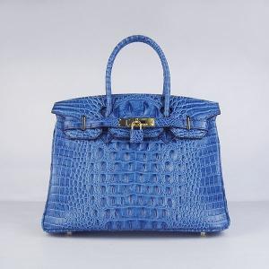 Hermes Birkin Bag 30 Crocodile Head Skin Gold Hardware (Blue Jea-versandhermes