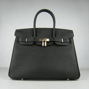 Hermes Birkin Bag 35 Calfskin Gold Hardware (Black)-www.versandhermes.com